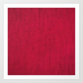 Ruby Red Honeycomb Pentagon Abstract Pattern Art Print