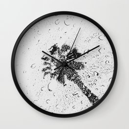 Modern Black and White Palm Tree 2 of 2 Wall Clock