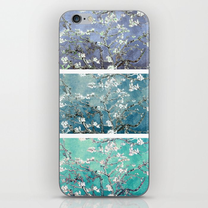 Van Gogh : Almond Blossoms Turquoise Teal Steel Blue Panel Art iPhone Skin