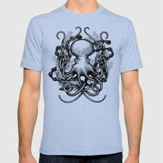 Octupus and COral (Black and White) Mens Fitted Tee MEDIUM Tri-Blue