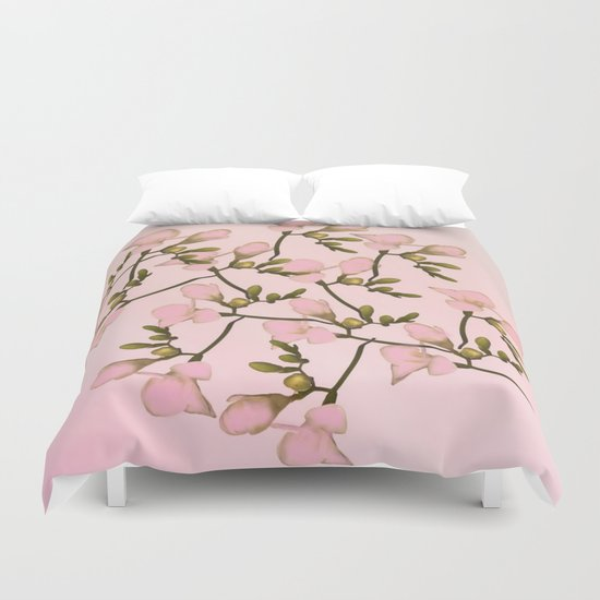 Painterly Pretty Pink Floral Duvet Cover