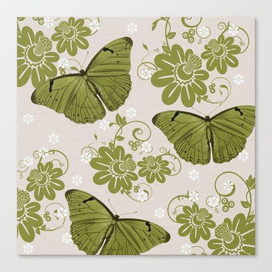 Green Butterflies & Flowers Canvas Print
