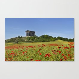 Penshaw monument above red popies Canvas Print