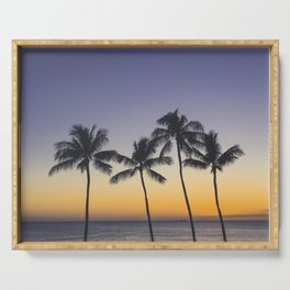 Palm Trees w/ Ombre Tropical Sunset - Hawaii Serving Tray