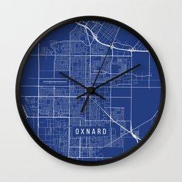 Oxnard Map, USA - Blue Wall Clock