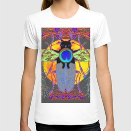 MYSTIC BLACK  BEETLE BLUE PEACOCK MOON ART T-shirt