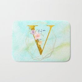 Gold Foil Alphabet Letter V Initials Monogram Frame with a Gold Geometric Wreath Bath Mat