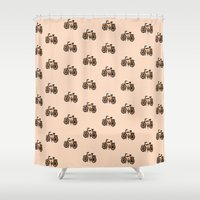 bikes Shower Curtains featuring Bikes by andy_panda_