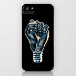 Protest fist light bulb / 3D render of glass light bulb in the form of clenched fist iPhone Case