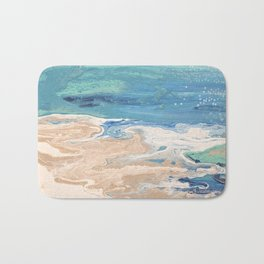 Coastal beach inspired acrylic fluid pour painting Bath Mat