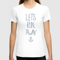 hawaii T-shirts featuring Let's Run Away: Sandy Beach, Hawaii by Leah Flores