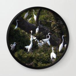 Egret Rookery Wall Clock