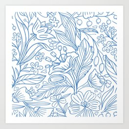 Navy Blue Spring Floral Blooms Artwork Art Print