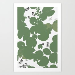 Summer fish pond with lily pads Art Print