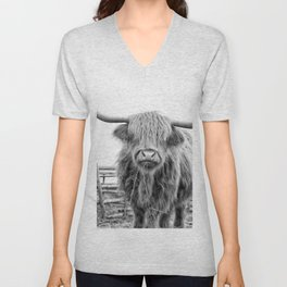 Highland Cow in a Fence Black and White Unisex V-Neck