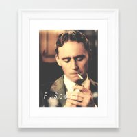 fitzgerald Framed Art Prints featuring F. Scott Fitzgerald by Earl of Grey