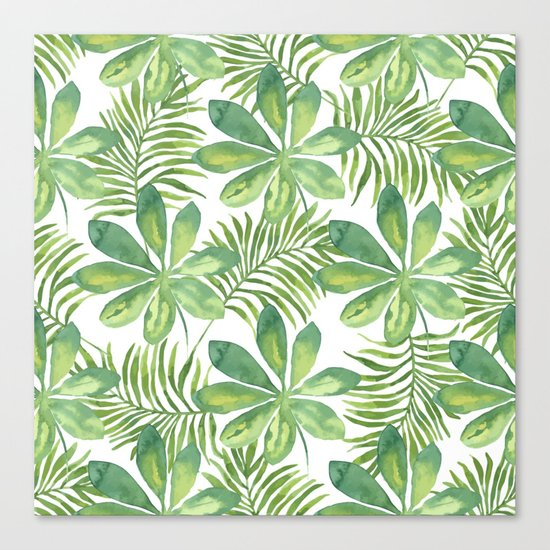Tropical Branches Pattern 01 Canvas Print
