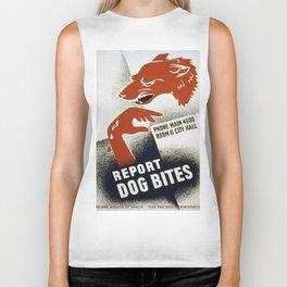 Vintage poster - Report Dog Bites Biker Tank