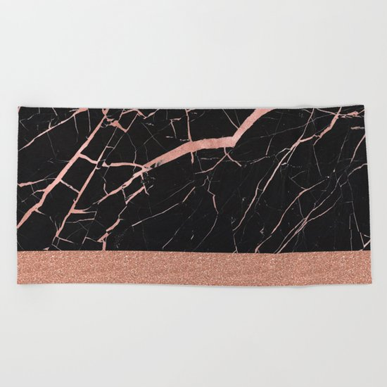 Dark stormy rose gold marble Beach Towel