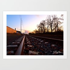 Evening railway Art Print