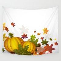 thanksgiving Wall Tapestries featuring Thanksgiving Pumpkins by FantasyArtDesigns