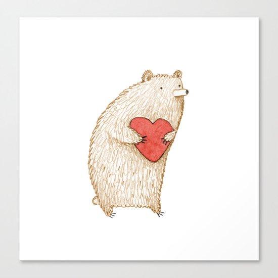 Bear with Heart Canvas Print