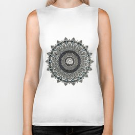 Black and White Flower Mandala with Blue Jewels Biker Tank