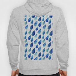 watercolor rain drops, seamless background with stylized blue raindrops Hoody