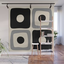 Mid Century Modern Square Dot Pattern 593 Black and Gray Wall Mural
