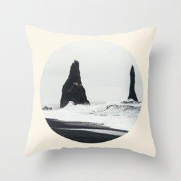 Black Sand Beach Iceland Throw Pillow
