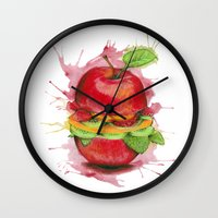 burger Wall Clocks featuring burger by Boho déco