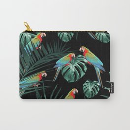 Parrots in the Tropical Jungle Night #2 #tropical #decor #art #society6 Carry-All Pouch