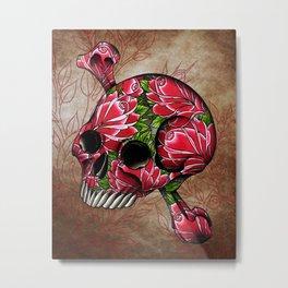 trad rose covered skull Metal Print