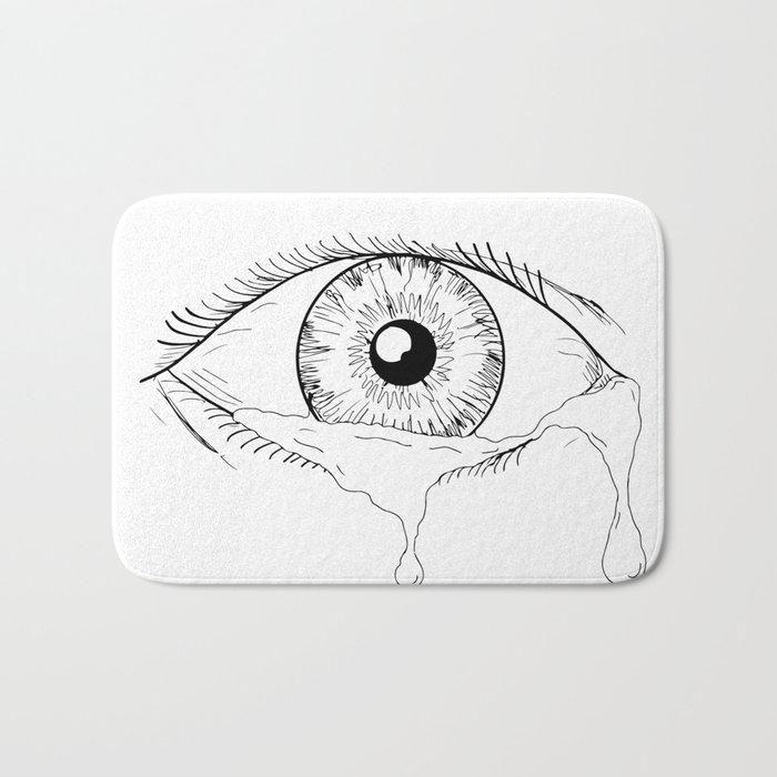 30f8544b73d Human Eye Crying Tears Flowing Drawing Bath Mat by patrimonio