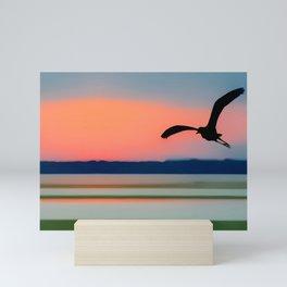 Seagull Sunset Abstract Mini Art Print