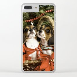 Three Tricolor Beagle Puppies in a Basket underneath a Christmas Tree Clear iPhone Case
