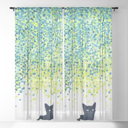 Cat in the garden under willow tree Sheer Curtain
