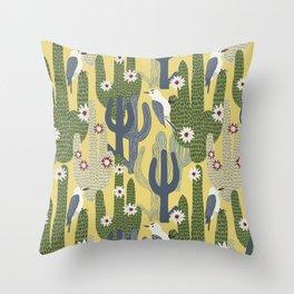 Cactus Wrens Throw Pillow