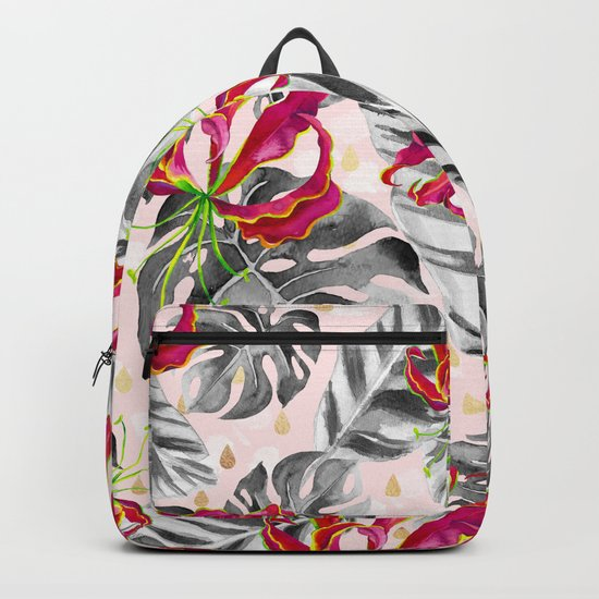 Tropical plants pattern and watercolor flowers Backpack