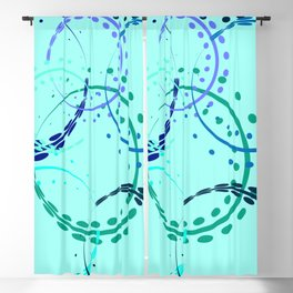 Pastel curls and circles of blue shades on the azure background. Blackout Curtain