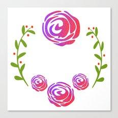 Floral Round Canvas Print