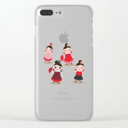 Spanish Woman flamenco dancer. Kawaii cute face with pink cheeks and winking eyes. Gipsy girl Clear iPhone Case