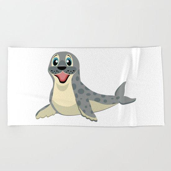 Smiling Baby Seal Beach Towel