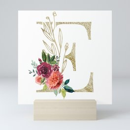 Gold Foil Monogram Letter E with watercolor flowers Mini Art Print