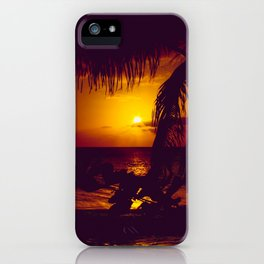 Kamaole Tropical Nights Sunset Gold Purple Palm iPhone Case