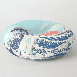 The Great Wave off Kanagawa stormy ocean with big waves Floor Pillow