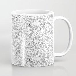 Monstera Black and White Line Art Pattern Coffee Mug