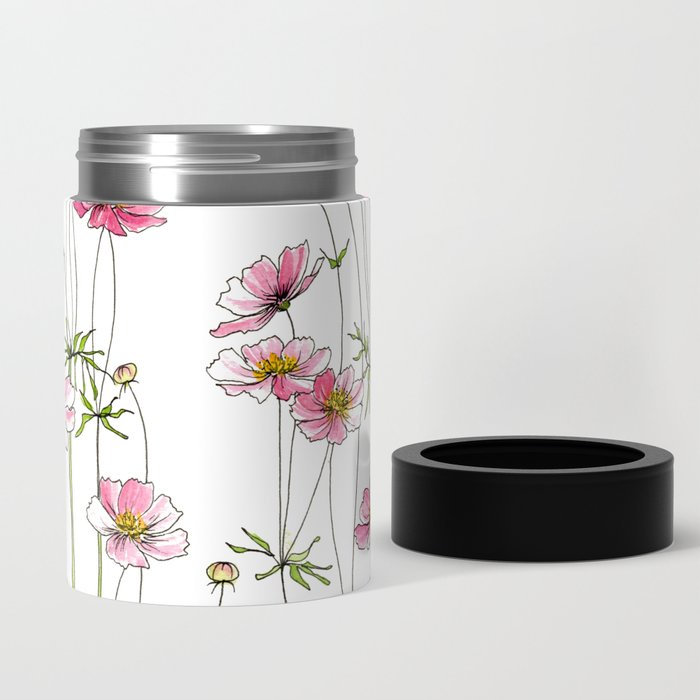 Pink Cosmos Flowers Can Cooler