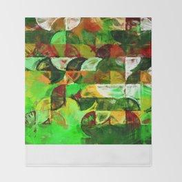 greeny half geometry painting Throw Blanket
