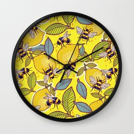 Yellow lemon and bee garden. Wall Clock